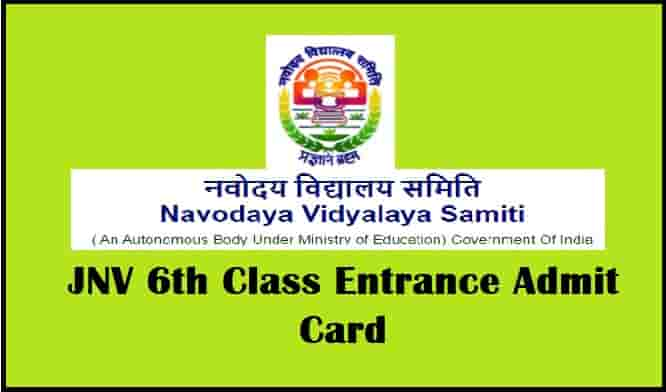 JNV 6th Class Entrance Test Admit Card