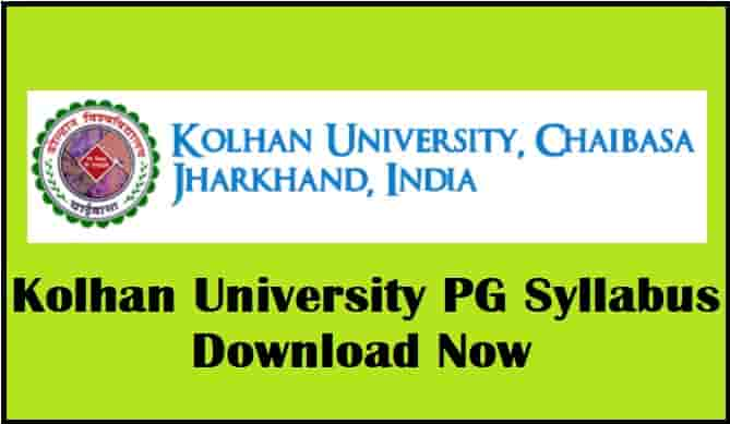 Kolhan University PG Syllabus